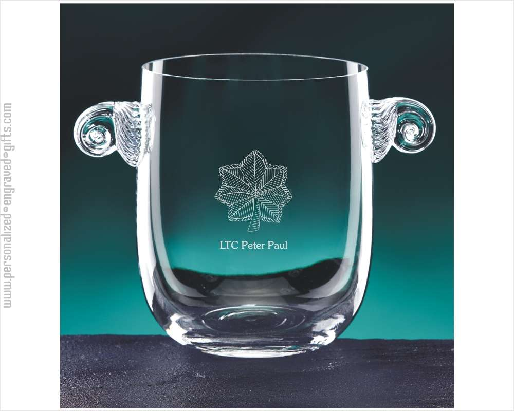 Customized Glass Ice Bucket with Handles the Silver Oak