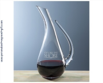 Engraved Crystal Wine Decanter with Open Handle