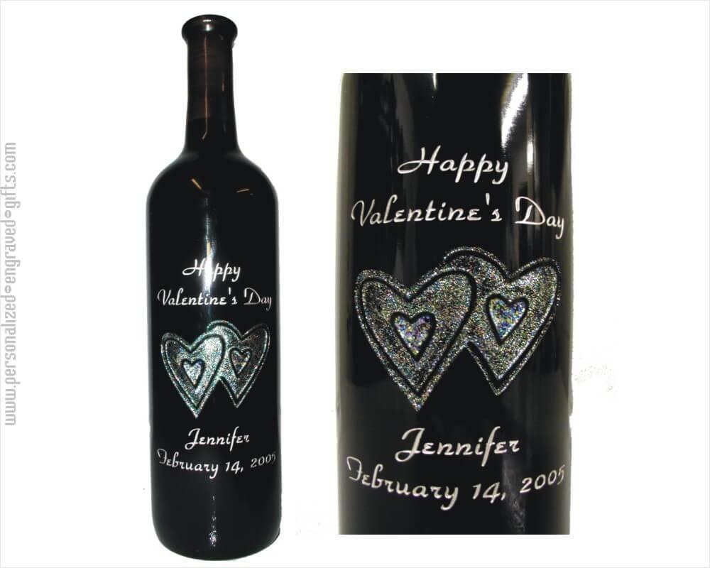 Engraved Wine Bottles For Wedding Gift : Glittering Double Heart Design on Custom Wine Bottle