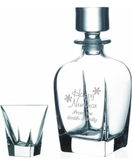 Single Malt Whiskey Gift Set Engraved Decanter with 6 Glases-Passante
