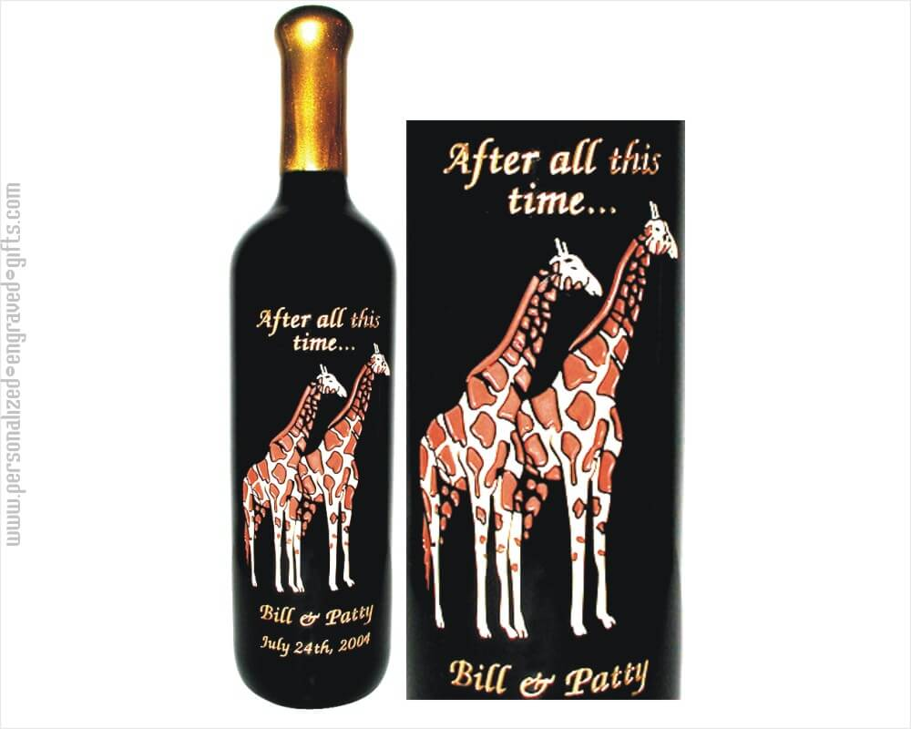 Two Giraffes Deep Engraved into Wine Bottles