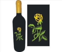 Engraved Wine Bottles - Yellow Rose