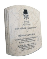 Elegant Beveled Botticino Plaque  - Engraved Marble Plaques