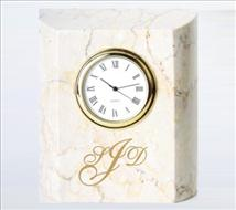 Engraved Botticino Marble Mini Column Clock