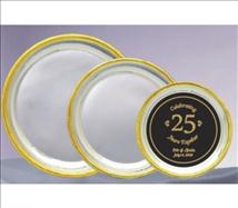 Silver Plated Presentation Plate with Gold Decorative Trim