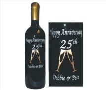 Engraved Wine Bottles with Cheers...Clinking Glasses