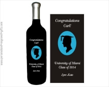 College Graduate Fellow Engraved into a Wine Bottle