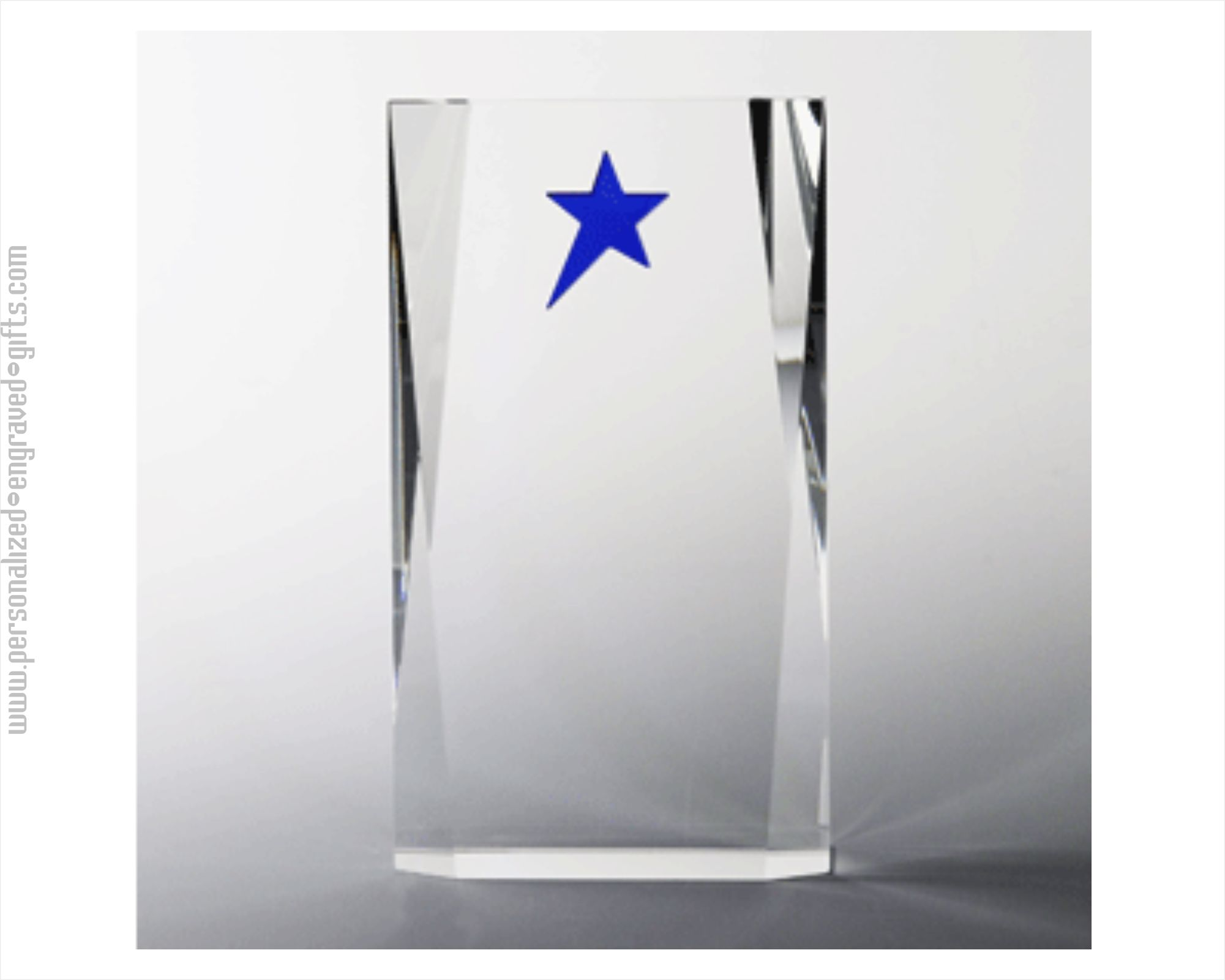 Crystal Block Award with Shimmering Blue Star