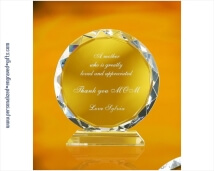 Custom Engraved Brillant Crystal Sunflower Award