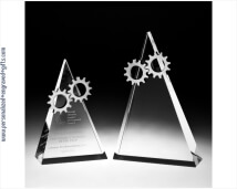 Engraved Crystal Triangle Award with Chrome Gears