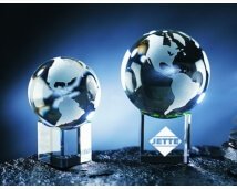 Engraved Crystal Earth Globe on Concave Base