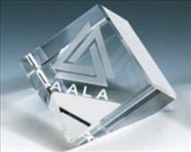 Triangle Bottom Standing Crystal Engraved Cube Paperweight