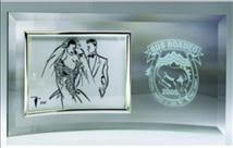 Engraved Curved Glass with Silver Horizontal Picture Frame