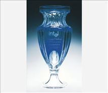 Engraved Blue Full Lead Crystal Vase Donna