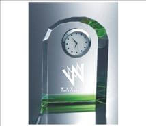 Tekno Green Engraved Crystal Clock