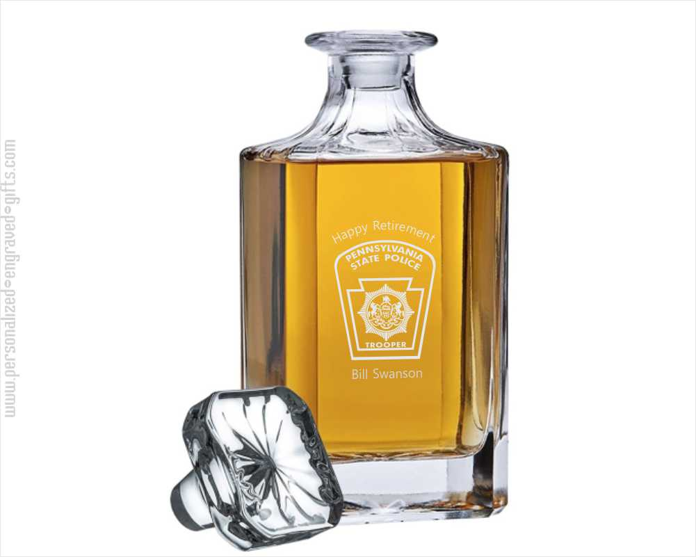 Engraved Classic 26 oz Spirit Decanter with Beveled Corners