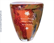 Art Glass Autumn Inspired Oval Vase for a Fall Wedding