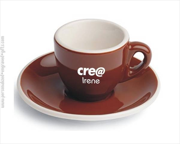 Engraved Clic Espresso Cup With Saucer Brown