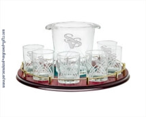 Crystal Ice Bucket Gift set with 4 DOF Glasses and Tray