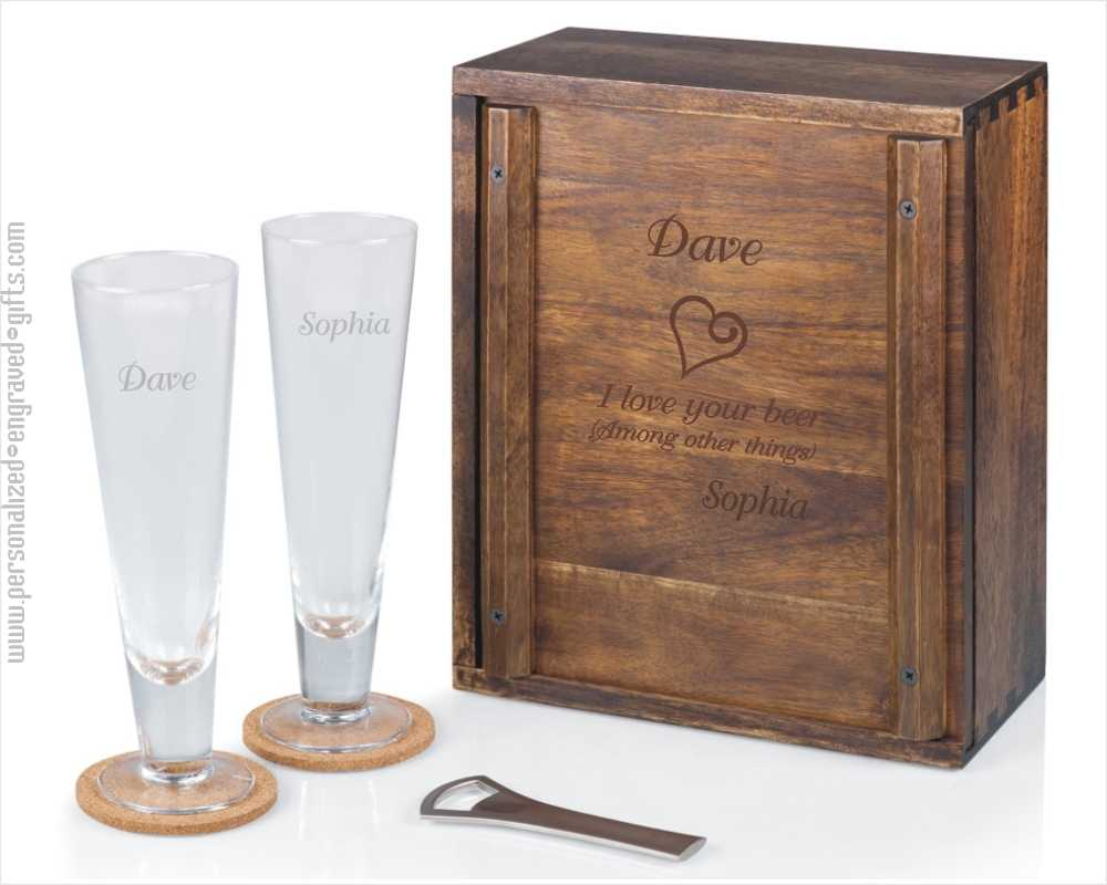 Personalized Pilsner Craft Beer Wooden Gift Box Set