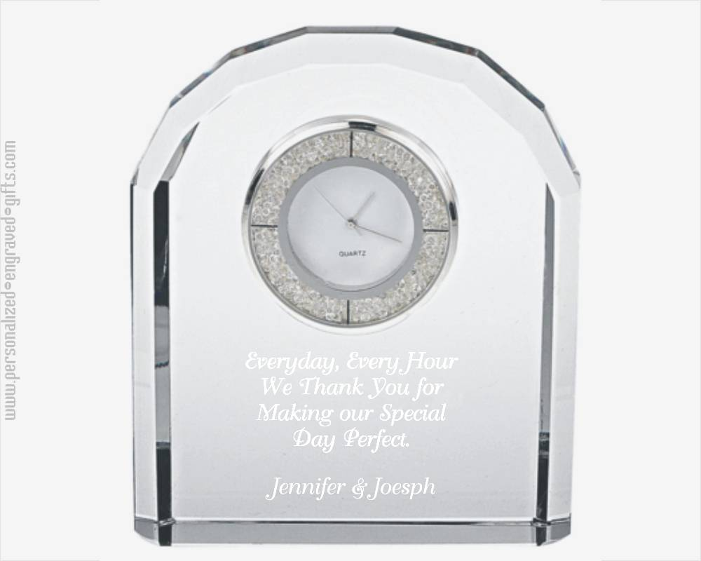 Bejeweled Crystal Clock Custom Engraved