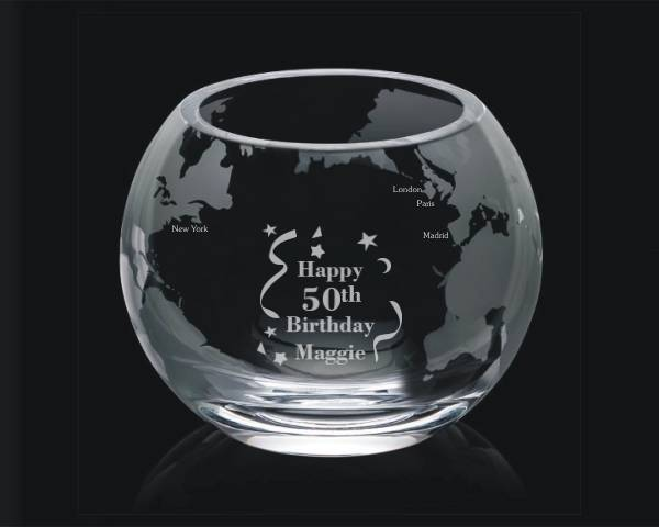 Custom Engraved Glass Globe Bowl - Lenox