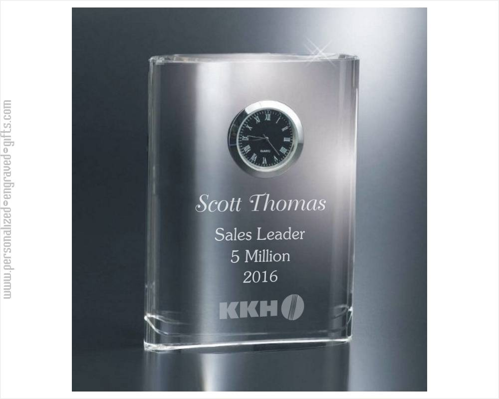 Personalized Desktop Crystal Clock the Leader