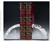 Faceted Crystal Bookends Meticulously Engraved With Your Custom Design and Words of Congratulations