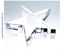 Engraved Crystal Flat Star Award - Paperweight
