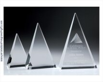 Engraved Crystal Triangle Plaque