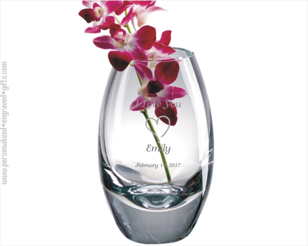Personalized Mouth Blown Heavy Crystal Vase Lucent
