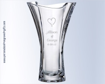 Crystal Tapered Vase With Ribbon Top Engraved Dalia