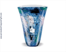 Monet Inspired Blue Art Glass Vase - The Crystalline