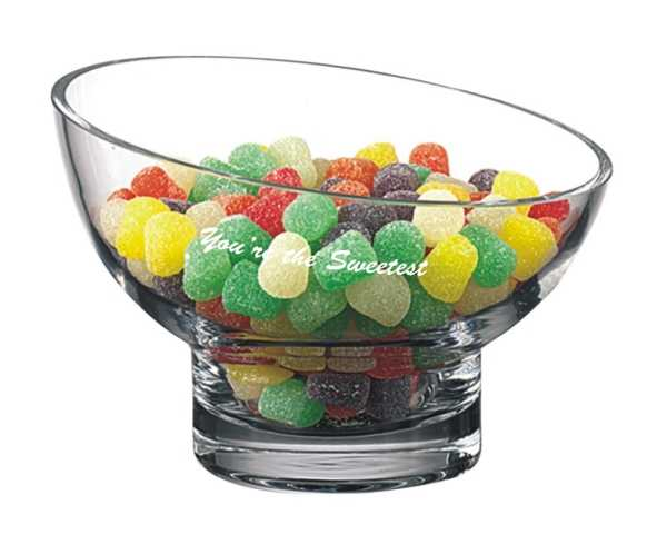 Tilted 7 inch Crystal Candy Bowl Custom Engraved - Sophia