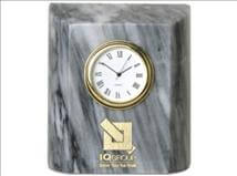 Engraved Grey Marble Mini Column Clock
