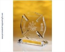 Engraved Crystal Maltese Cross Award