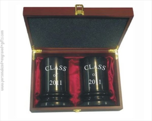 Quality Marble Column Bookends in a Rosewood Gift Box Inscribed to Recognize Success