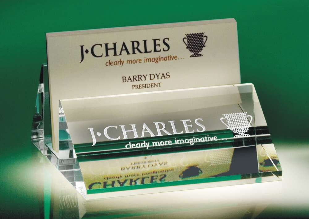 Engraved crystal name plates slanted business card holder with name plate colourmoves
