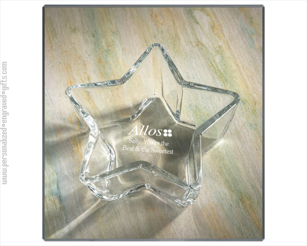 Engraved Glass 7inch Star Candy Dish