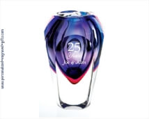 Engraved Blue and Violet Crystal Art Vase