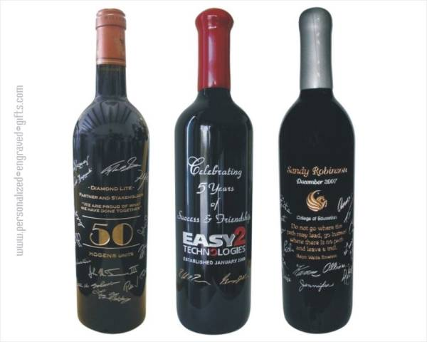 Wine Bottles Engraved with Signatures a Unique Gift