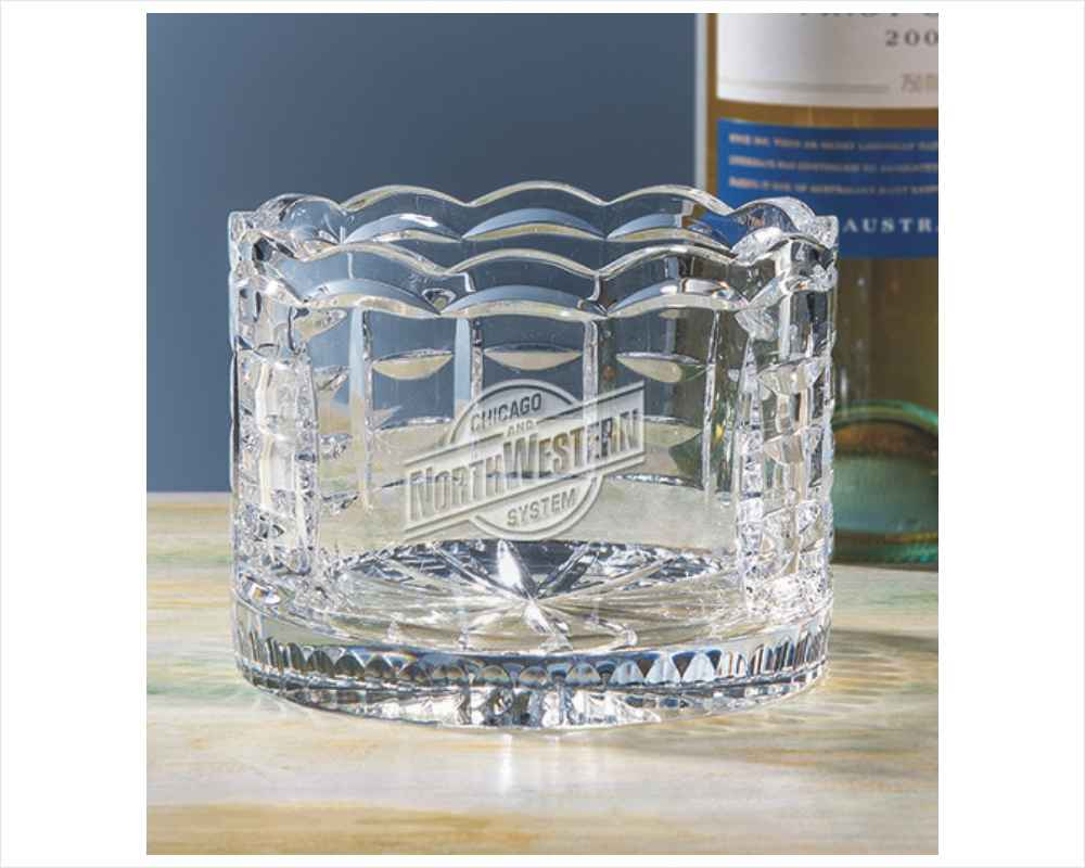 Deep Engraved Crystal Wine Caddy Scalloped Rim