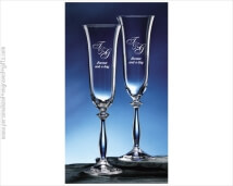 Graceful Toasting Flutes Custom Engraved to Remember a Special Day - Anka set of 2