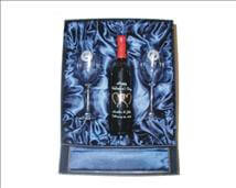 Large Deluxe Gift Box for Wine Bottle / Carafe and Stemware