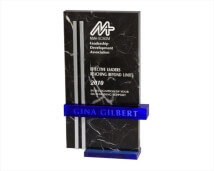 Engraved Black Marble Award with Blue and Chrome Accents