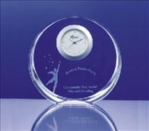 Engraved Circular 4inch Crystal Clock-Crown
