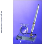 Engraved Crystal Pen Set with Crystal Apple