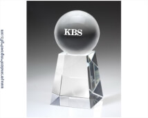 Engraved Crystal Ball on Tall Pedestal