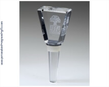 Engraved Crystal Wine Stopper - Elegant Trapezoid