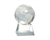 Engraved Crystal Globe on Base